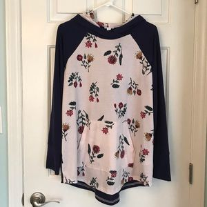 Navy and Pale Pink Floral Lularoe Amber